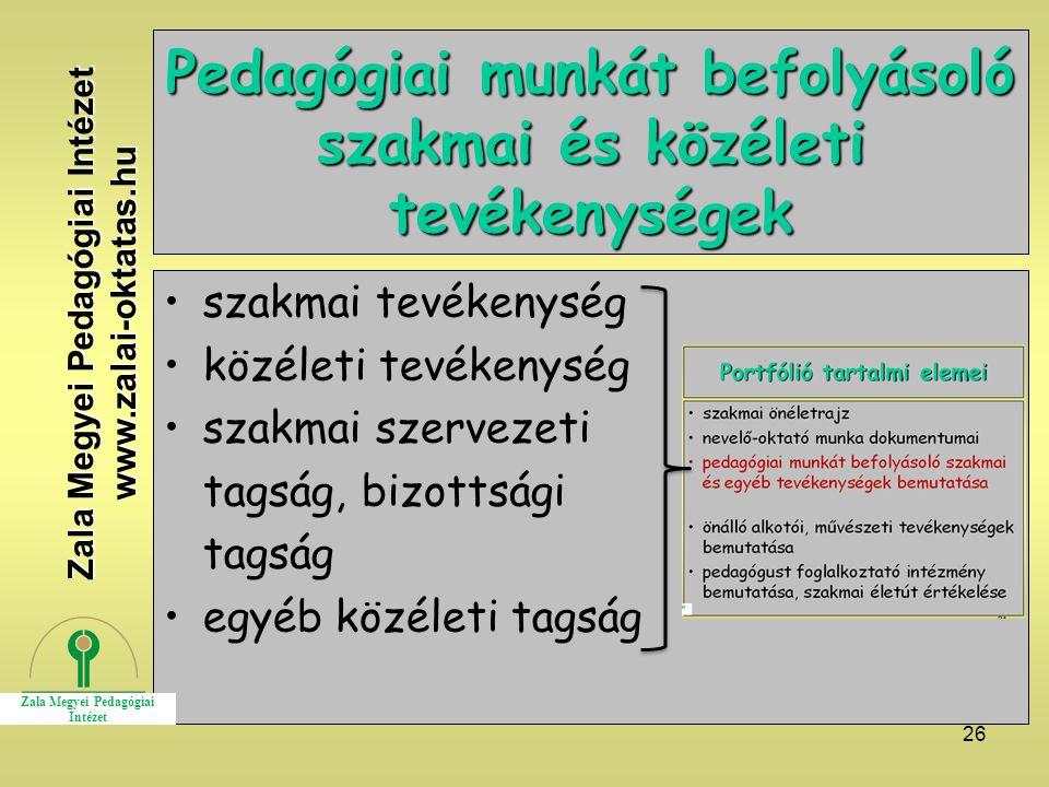 26 Pedagógiai munkát befolyásoló szakmai és közéleti tevékenységek szakmai tevékenység közéleti tevékenység szakmai szervezeti tagság, bizottsági tagság egyéb közéleti tagság Zala Megyei Pedagógiai Intézet www.zalai-oktatas.hu