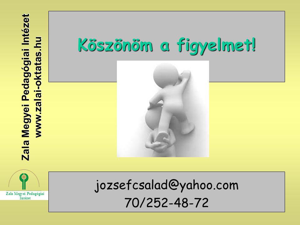 29 Köszönöm a figyelmet! Zala Megyei Pedagógiai Intézet www.zalai-oktatas.hu jozsefcsalad@yahoo.com 70/252-48-72