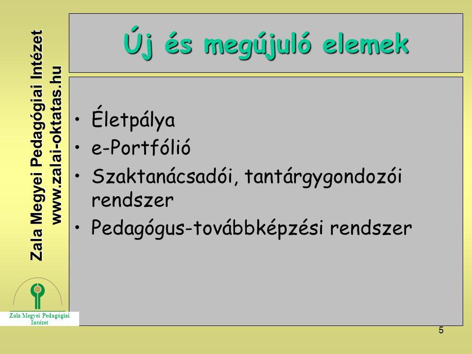 5 Új és megújuló elemek Életpálya e-Portfólió Szaktanácsadói, tantárgygondozói rendszer Pedagógus-továbbképzési rendszer Zala Megyei Pedagógiai Intézet www.zalai-oktatas.hu