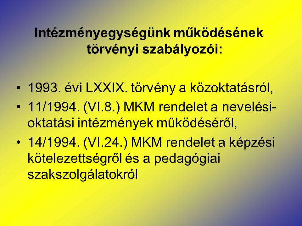 Intézményegységünk működésének törvényi szabályozói: 1993. évi LXXIX. törvény a közoktatásról, 11/1994. (VI.8.) MKM rendelet a nevelési- oktatási inté
