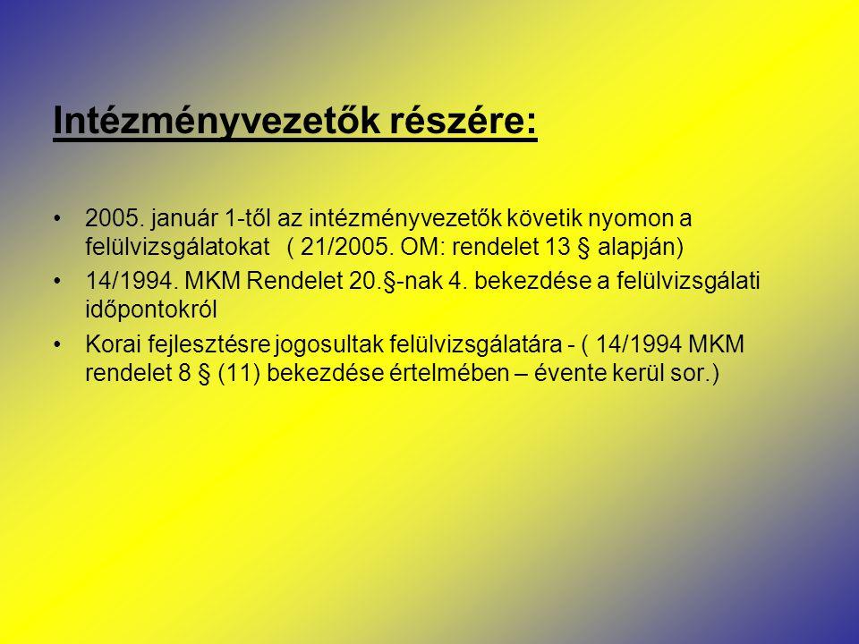 Intézményvezetők részére: 2005. január 1-től az intézményvezetők követik nyomon a felülvizsgálatokat ( 21/2005. OM: rendelet 13 § alapján) 14/1994. MK
