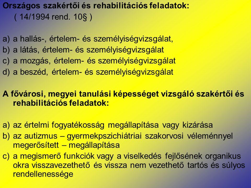 Országos szakértői és rehabilitációs feladatok: ( 14/1994 rend. 10§ ) a)a hallás-, értelem- és személyiségvizsgálat, b)a látás, értelem- és személyisé