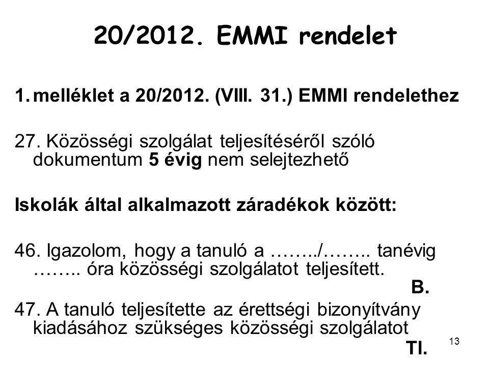 13 1.melléklet a 20/2012. (VIII. 31.) EMMI rendelethez 27. Közösségi szolgálat teljesítéséről szóló dokumentum 5 évig nem selejtezhető Iskolák által a