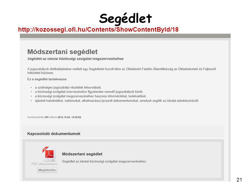 21 Segédlet http://kozossegi.ofi.hu/Contents/ShowContentById/18