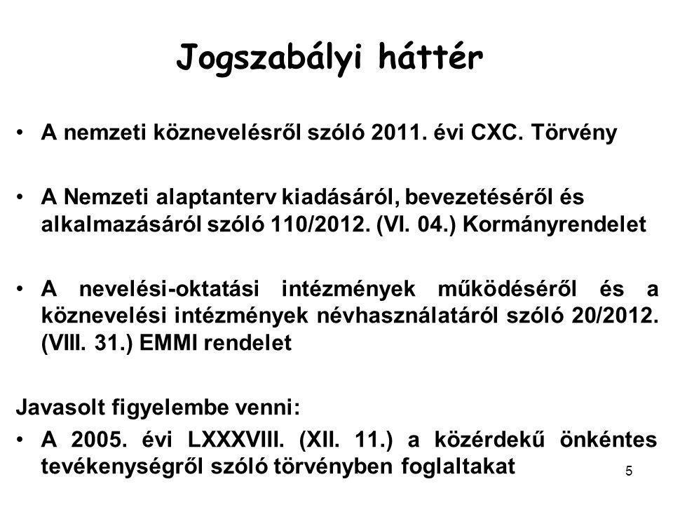 5 A nemzeti köznevelésről szóló 2011. évi CXC. Törvény A Nemzeti alaptanterv kiadásáról, bevezetéséről és alkalmazásáról szóló 110/2012. (VI. 04.) Kor