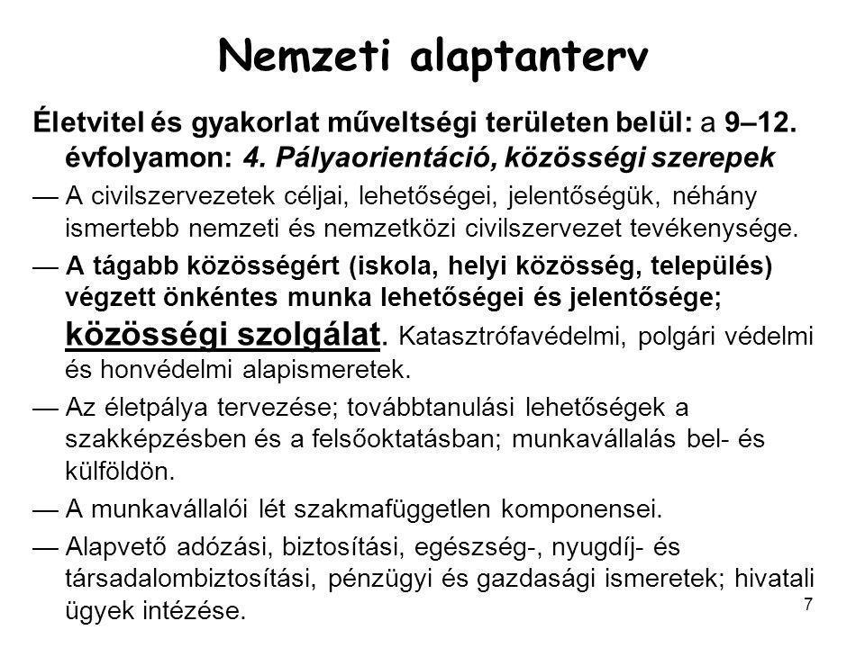 7 Nemzeti alaptanterv Életvitel és gyakorlat műveltségi területen belül: a 9–12.