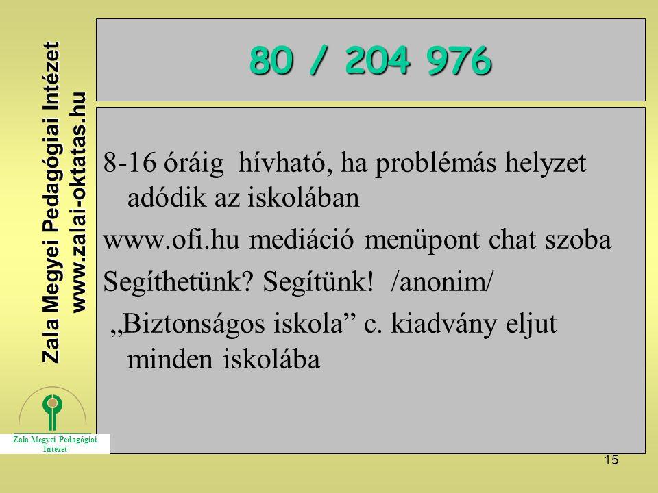 """15 80 / 204 976 8-16 óráig hívható, ha problémás helyzet adódik az iskolában www.ofi.hu mediáció menüpont chat szoba Segíthetünk? Segítünk! /anonim/ """""""
