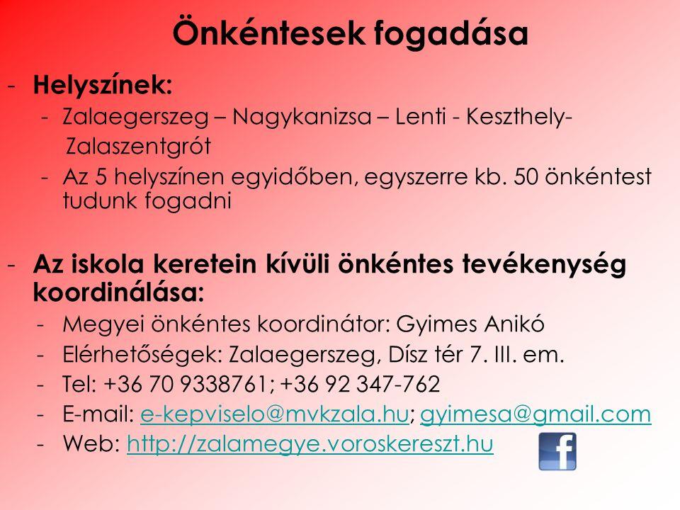 - Helyszínek: -Zalaegerszeg – Nagykanizsa – Lenti - Keszthely- Zalaszentgrót -Az 5 helyszínen egyidőben, egyszerre kb. 50 önkéntest tudunk fogadni - A
