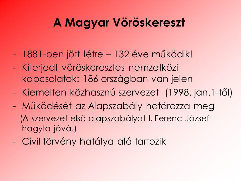 A Magyar Vöröskereszt -1881-ben jött létre – 132 éve működik! -Kiterjedt vöröskeresztes nemzetközi kapcsolatok: 186 országban van jelen -Kiemelten köz