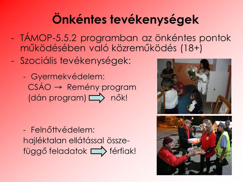 -TÁMOP-5.5.2 programban az önkéntes pontok működésében való közreműködés (18+) -Szociális tevékenységek: -Gyermekvédelem: CSÁO Remény program (dán pro
