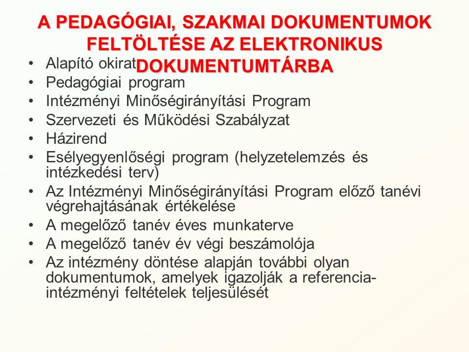 A PEDAGÓGIAI, SZAKMAI DOKUMENTUMOK FELTÖLTÉSE AZ ELEKTRONIKUS DOKUMENTUMTÁRBA Alapító okirat Pedagógiai program Intézményi Minőségirányítási Program S