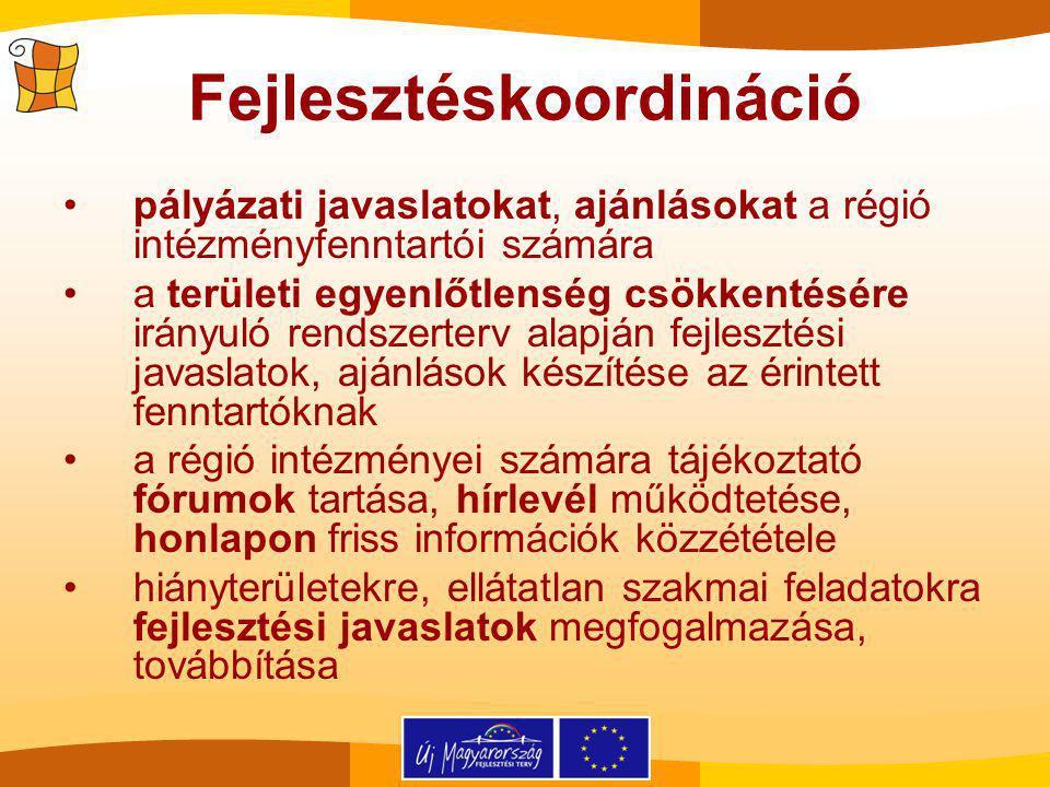 Fejlesztéskoordináció pályázati javaslatokat, ajánlásokat a régió intézményfenntartói számára a területi egyenlőtlenség csökkentésére irányuló rendszerterv alapján fejlesztési javaslatok, ajánlások készítése az érintett fenntartóknak a régió intézményei számára tájékoztató fórumok tartása, hírlevél működtetése, honlapon friss információk közzététele hiányterületekre, ellátatlan szakmai feladatokra fejlesztési javaslatok megfogalmazása, továbbítása