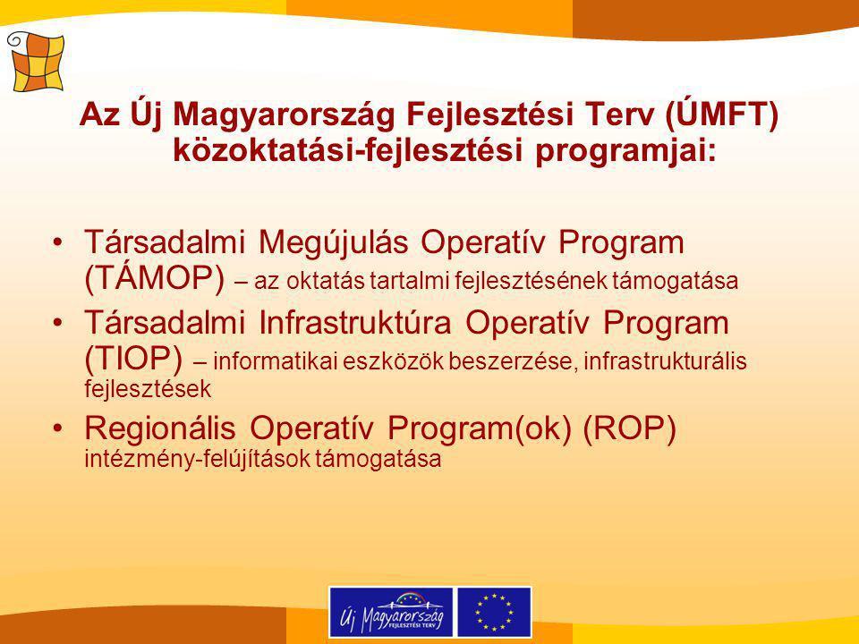 Az Új Magyarország Fejlesztési Terv (ÚMFT) közoktatási-fejlesztési programjai: Társadalmi Megújulás Operatív Program (TÁMOP) – az oktatás tartalmi fejlesztésének támogatása Társadalmi Infrastruktúra Operatív Program (TIOP) – informatikai eszközök beszerzése, infrastrukturális fejlesztések Regionális Operatív Program(ok) (ROP) intézmény-felújítások támogatása