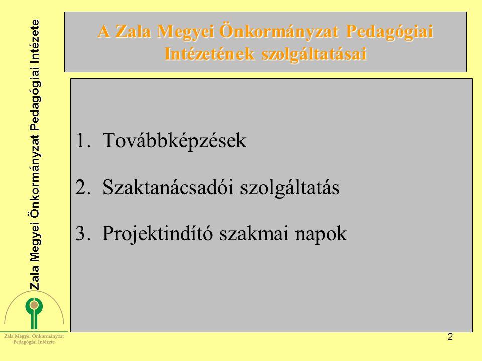2 A Zala Megyei Önkormányzat Pedagógiai Intézetének szolgáltatásai 1.Továbbképzések 2.Szaktanácsadói szolgáltatás 3.Projektindító szakmai napok Zala Megyei Önkormányzat Pedagógiai Intézete