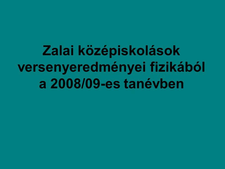 Zalai középiskolások versenyeredményei fizikából a 2008/09-es tanévben
