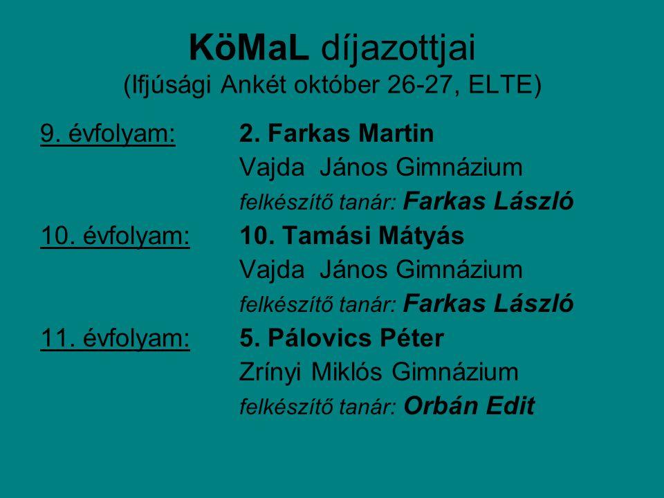 KöMaL díjazottjai (Ifjúsági Ankét október 26-27, ELTE) 9.
