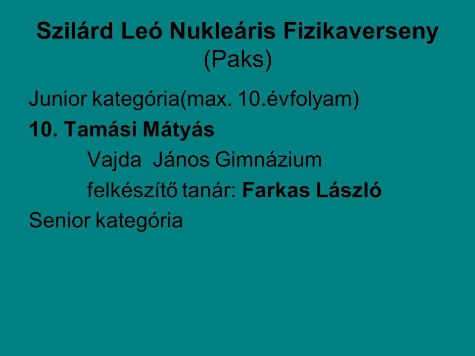 Szilárd Leó Nukleáris Fizikaverseny (Paks) Junior kategória(max.