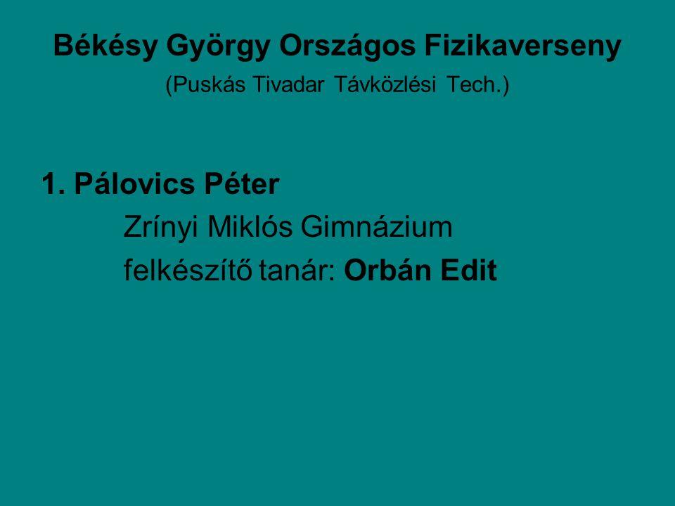 Békésy György Országos Fizikaverseny (Puskás Tivadar Távközlési Tech.) 1.