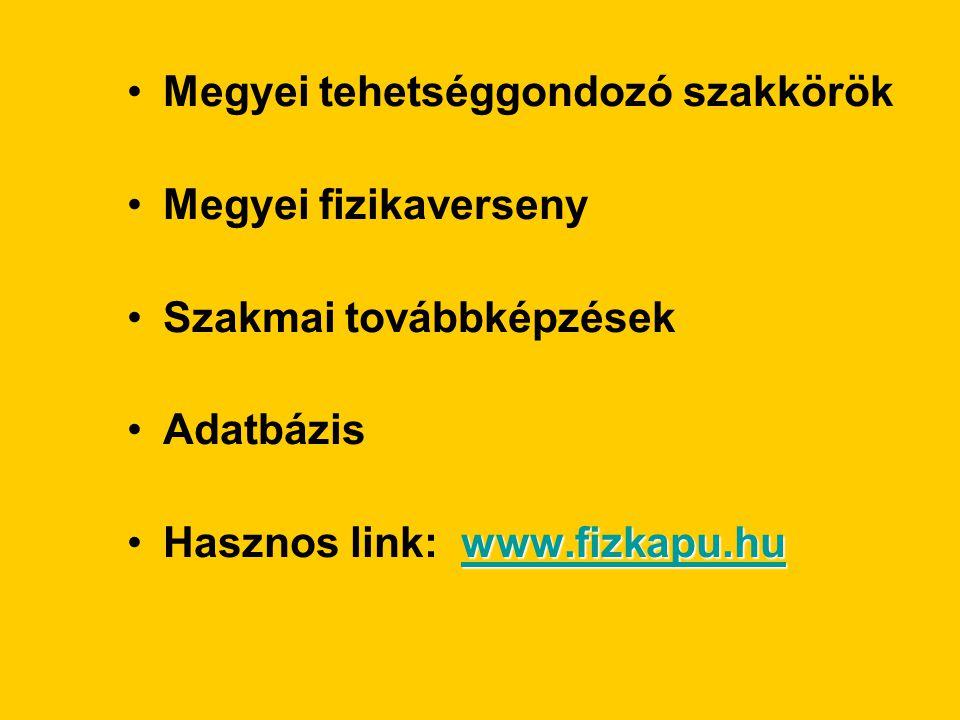 Megyei tehetséggondozó szakkörök Megyei fizikaverseny Szakmai továbbképzések Adatbázis www.fizkapu.hu www.fizkapu.huHasznos link: www.fizkapu.huwww.fizkapu.hu
