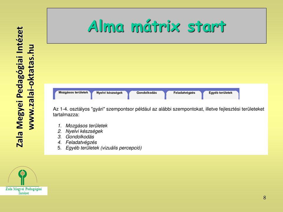 8 Alma mátrix start Zala Megyei Pedagógiai Intézet www.zalai-oktatas.hu
