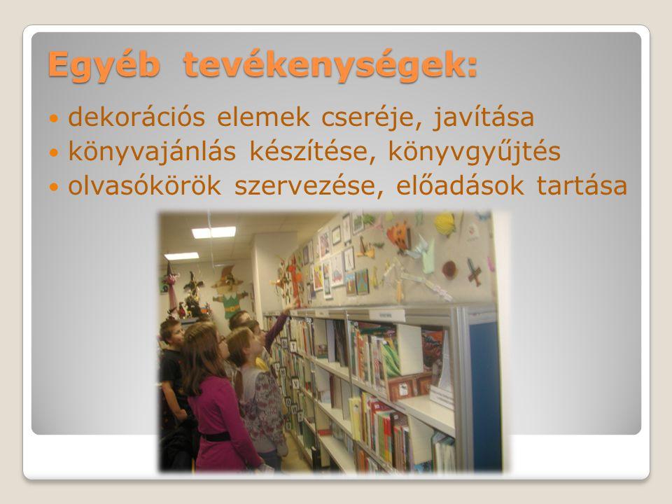 Egyéb tevékenységek: dekorációs elemek cseréje, javítása könyvajánlás készítése, könyvgyűjtés olvasókörök szervezése, előadások tartása