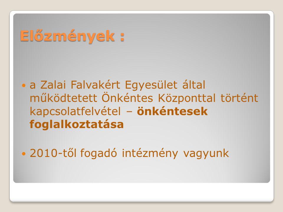 Előzmények : a Zalai Falvakért Egyesület által működtetett Önkéntes Központtal történt kapcsolatfelvétel – önkéntesek foglalkoztatása 2010-től fogadó