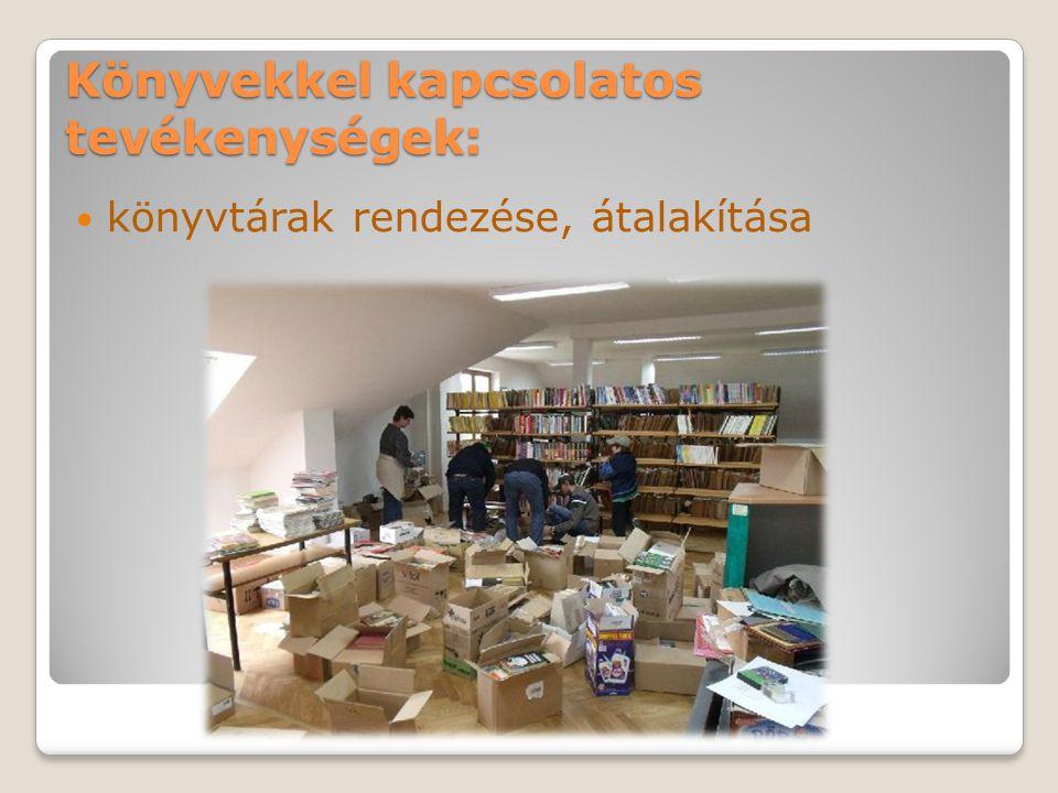 Könyvekkel kapcsolatos tevékenységek: könyvtárak rendezése, átalakítása