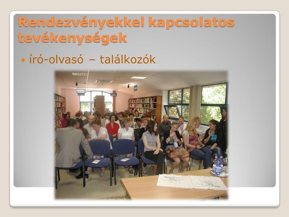 Rendezvényekkel kapcsolatos tevékenységek író-olvasó – találkozók