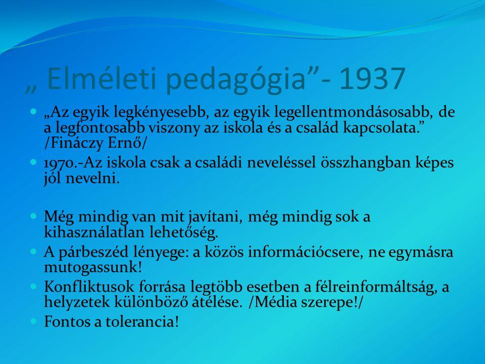 """"""" Elméleti pedagógia - 1937 """"Az egyik legkényesebb, az egyik legellentmondásosabb, de a legfontosabb viszony az iskola és a család kapcsolata. /Fináczy Ernő/ 1970.-Az iskola csak a családi neveléssel összhangban képes jól nevelni."""