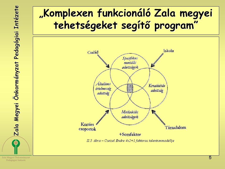 """6 """"Komplexen funkcionáló Zala megyei tehetségeket segítő program TEHETSÉG A tehetséges gyerekek azok, akikben ez az együttes megnyilvánul, vagy kifejlesztik magukban ezt az integrációt, és alkalmazni is tudják valamely, az emberiség számára potenciálisan értékes területen."""