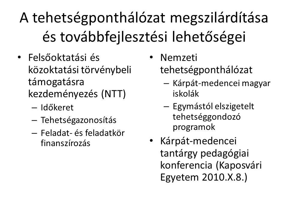A tehetségponthálózat megszilárdítása és továbbfejlesztési lehetőségei Felsőoktatási és közoktatási törvénybeli támogatásra kezdeményezés (NTT) – Idők