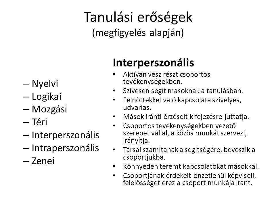 Tanulási erőségek (megfigyelés alapján) – Nyelvi – Logikai – Mozgási – Téri – Interperszonális – Intraperszonális – Zenei Interperszonális Aktívan ves