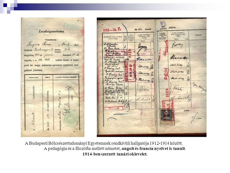 A Budapesti Bölcsészettudományi Egyetemnek rendkívüli hallgatója 1912-1914 között.