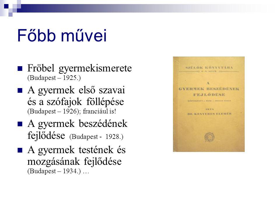Főbb művei Fröbel gyermekismerete (Budapest – 1925.) A gyermek első szavai és a szófajok föllépése (Budapest – 1926); franciául is.