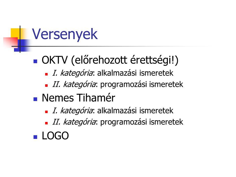 Versenyek OKTV (előrehozott érettségi!) I. kategória: alkalmazási ismeretek II.