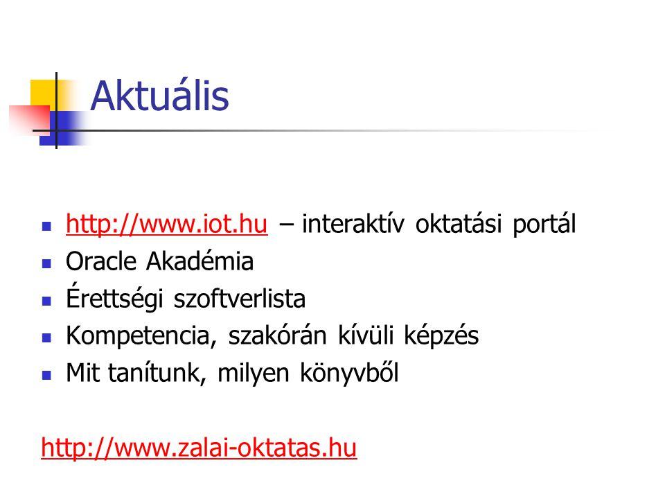 Aktuális http://www.iot.hu – interaktív oktatási portál http://www.iot.hu Oracle Akadémia Érettségi szoftverlista Kompetencia, szakórán kívüli képzés Mit tanítunk, milyen könyvből http://www.zalai-oktatas.hu