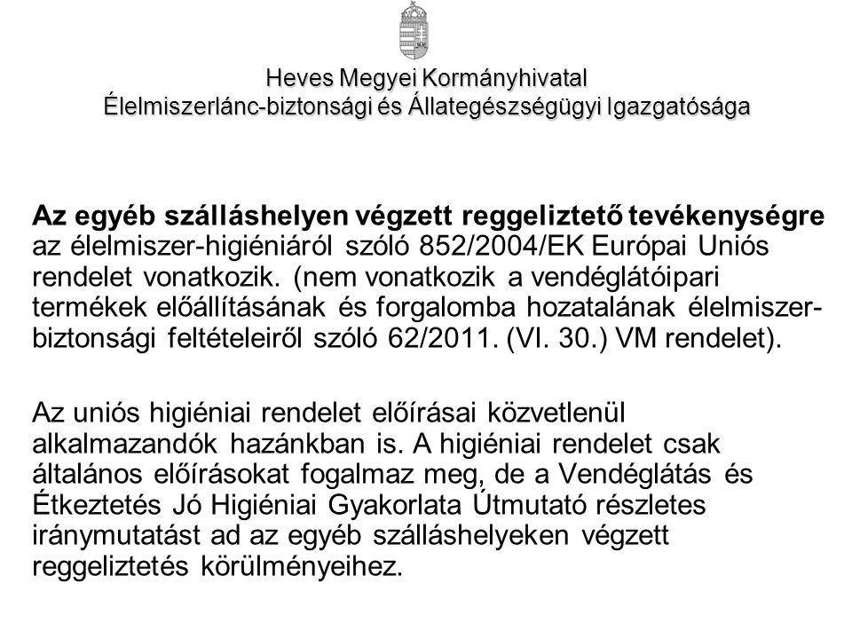 Az egyéb szálláshelyen végzett reggeliztető tevékenységre az élelmiszer-higiéniáról szóló 852/2004/EK Európai Uniós rendelet vonatkozik.