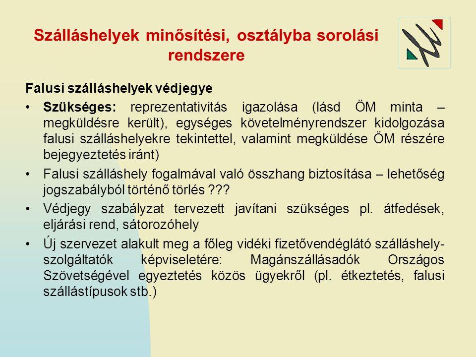Szálláshelyek minősítési, osztályba sorolási rendszere Falusi szálláshelyek védjegye Szükséges: reprezentativitás igazolása (lásd ÖM minta – megküldés