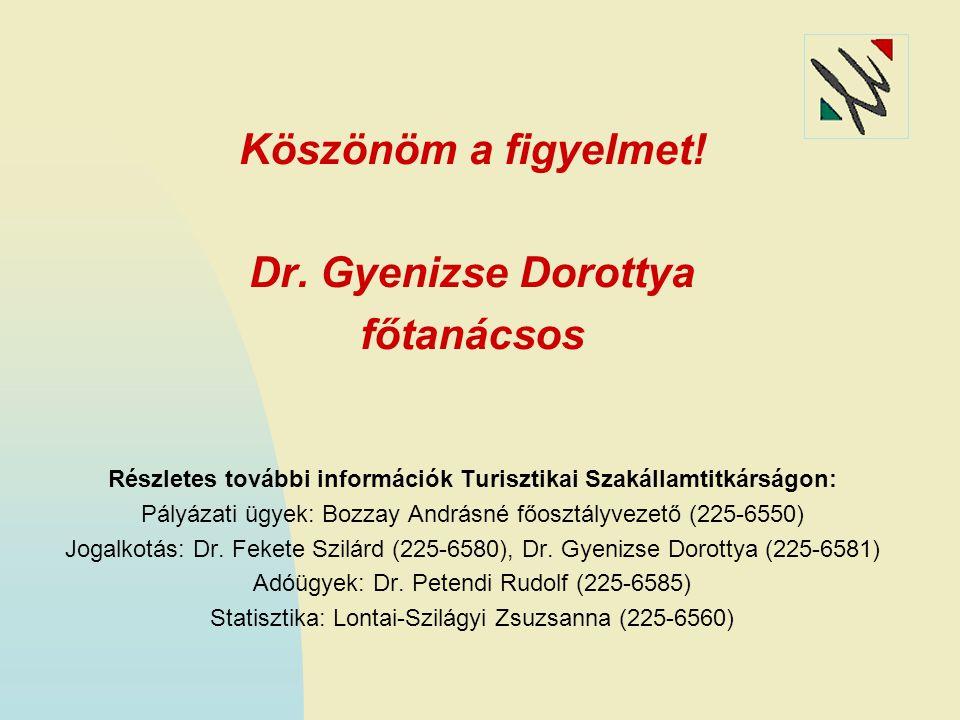 Köszönöm a figyelmet! Dr. Gyenizse Dorottya főtanácsos Részletes további információk Turisztikai Szakállamtitkárságon: Pályázati ügyek: Bozzay Andrásn