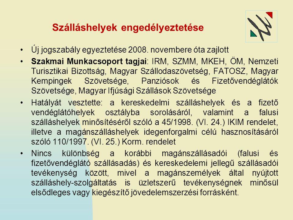 Szálláshelyek engedélyeztetése Új jogszabály egyeztetése 2008. novembere óta zajlott Szakmai Munkacsoport tagjai: IRM, SZMM, MKEH, ÖM, Nemzeti Turiszt
