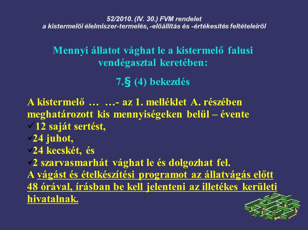 52/2010. (IV. 30.) FVM rendelet a kistermelői élelmiszer-termelés, -előállítás és -értékesítés feltételeiről Mennyi állatot vághat le a kistermelő fal