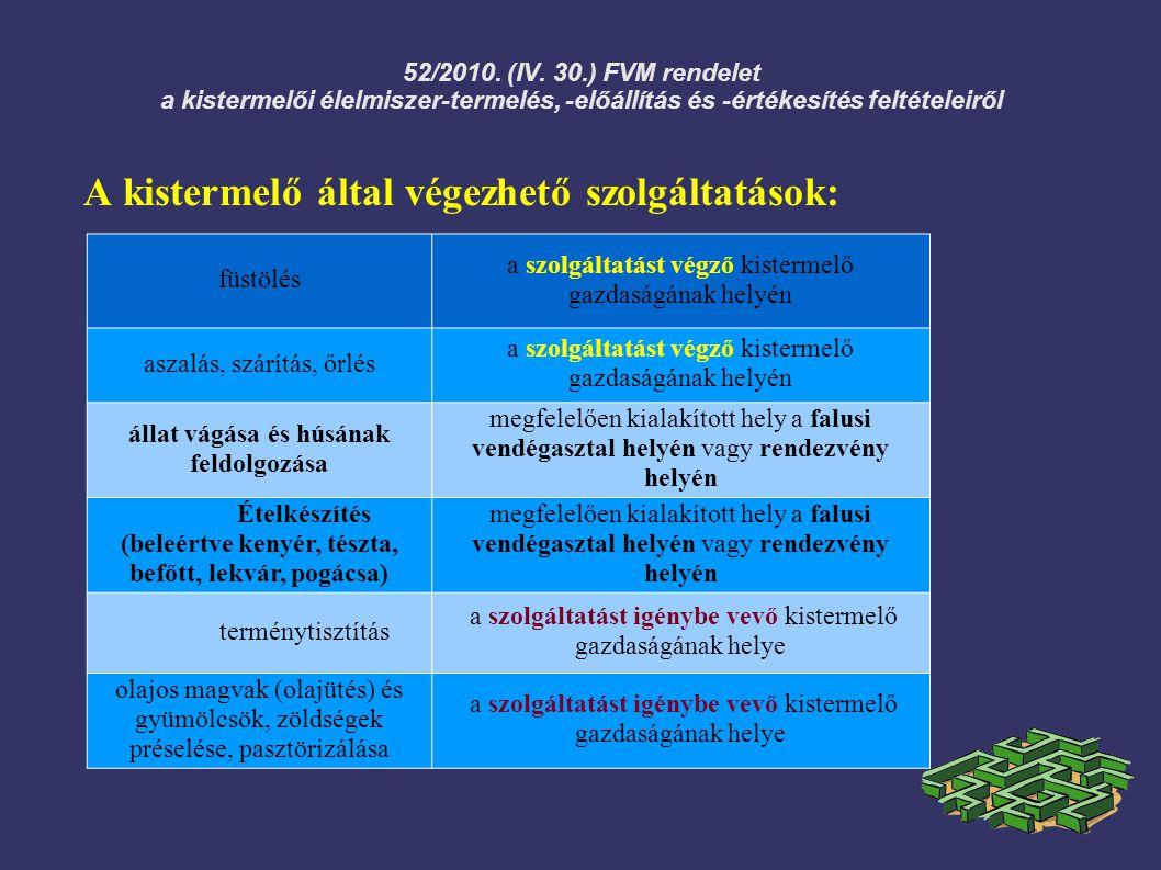 52/2010. (IV. 30.) FVM rendelet a kistermelői élelmiszer-termelés, -előállítás és -értékesítés feltételeiről A kistermelő által végezhető szolgáltatás