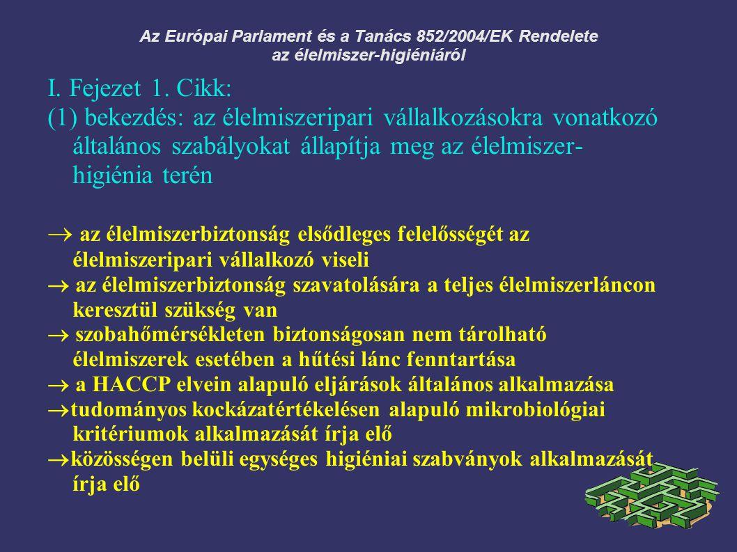 Az Európai Parlament és a Tanács 852/2004/EK Rendelete az élelmiszer-higiéniáról I. Fejezet 1. Cikk: (1) bekezdés: az élelmiszeripari vállalkozásokra