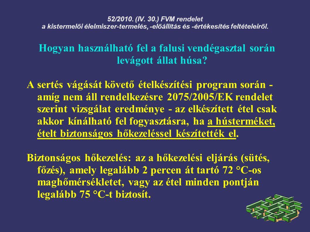 52/2010. (IV. 30.) FVM rendelet a kistermelői élelmiszer-termelés, -előállítás és -értékesítés feltételeiről. Hogyan használható fel a falusi vendégas