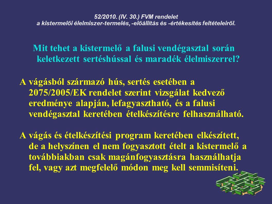 52/2010. (IV. 30.) FVM rendelet a kistermelői élelmiszer-termelés, -előállítás és -értékesítés feltételeiről. Mit tehet a kistermelő a falusi vendégas