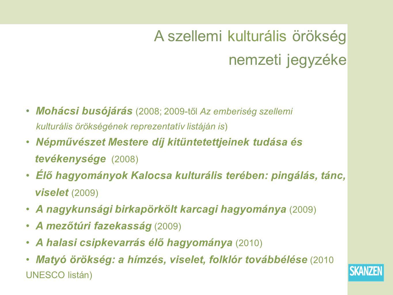 A szellemi kulturális örökség nemzeti jegyzéke Mohácsi busójárás (2008; 2009-től Az emberiség szellemi kulturális örökségének reprezentatív listáján is) Népművészet Mestere díj kitüntetettjeinek tudása és tevékenysége (2008) Élő hagyományok Kalocsa kulturális terében: pingálás, tánc, viselet (2009) A nagykunsági birkapörkölt karcagi hagyománya (2009) A mezőtúri fazekasság (2009) A halasi csipkevarrás élő hagyománya (2010) Matyó örökség: a hímzés, viselet, folklór továbbélése (2010 UNESCO listán)