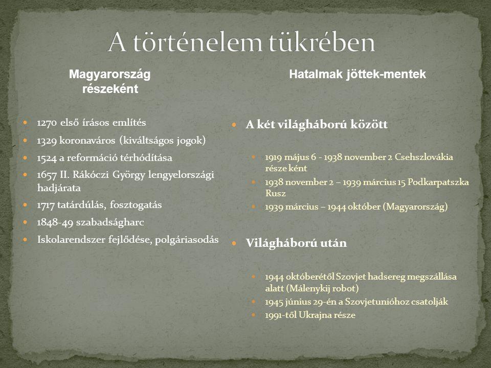 1270 első írásos említés 1329 koronaváros (kiváltságos jogok) 1524 a reformáció térhódítása 1657 II. Rákóczi György lengyelországi hadjárata 1717 tatá