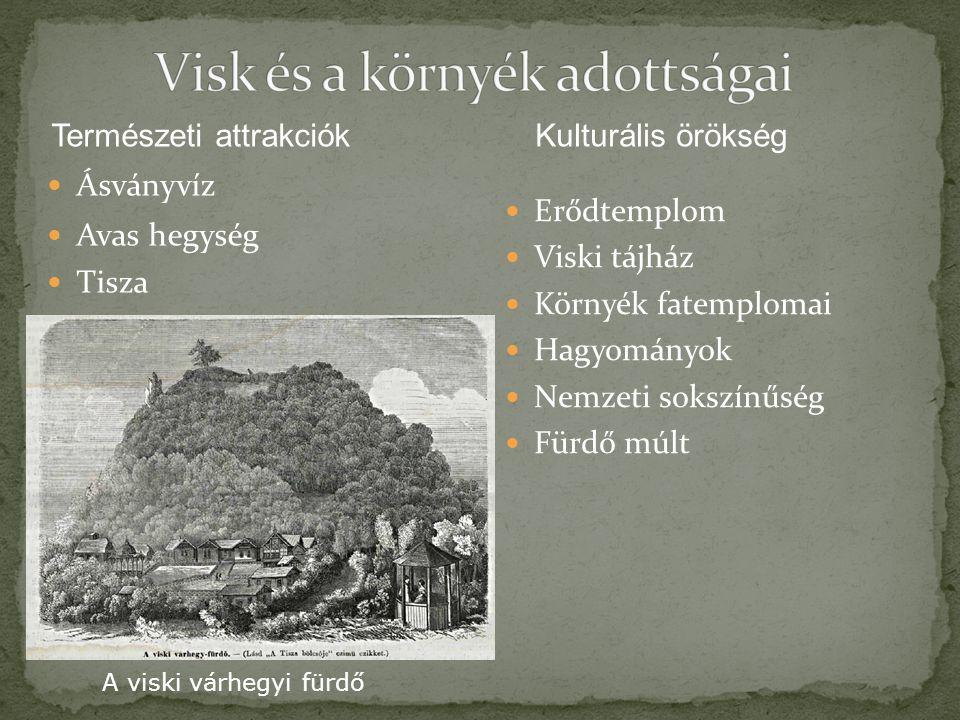 Ásványvíz Avas hegység Tisza Erődtemplom Viski tájház Környék fatemplomai Hagyományok Nemzeti sokszínűség Fürdő múlt Természeti attrakciókKulturális ö