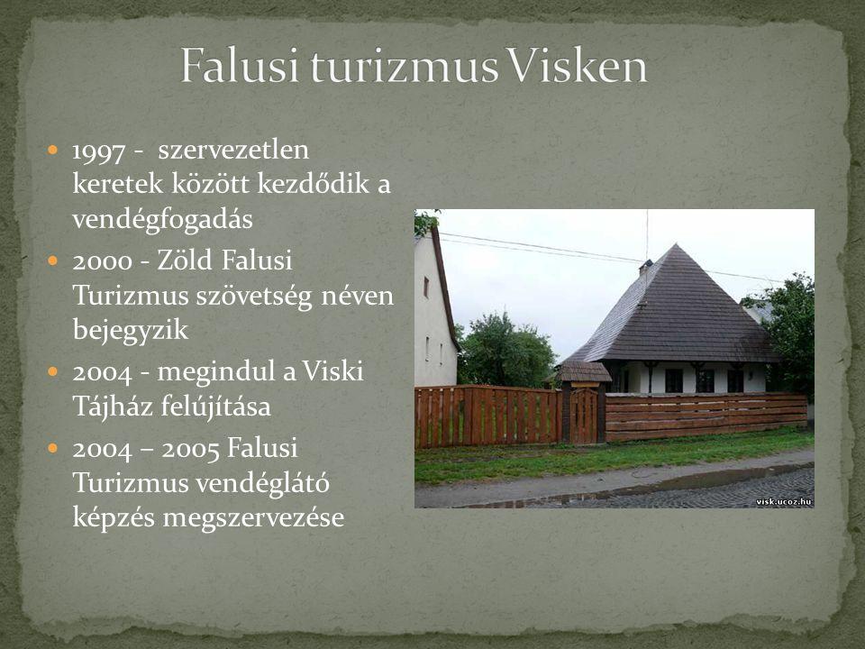 1997 - szervezetlen keretek között kezdődik a vendégfogadás 2000 - Zöld Falusi Turizmus szövetség néven bejegyzik 2004 - megindul a Viski Tájház felúj