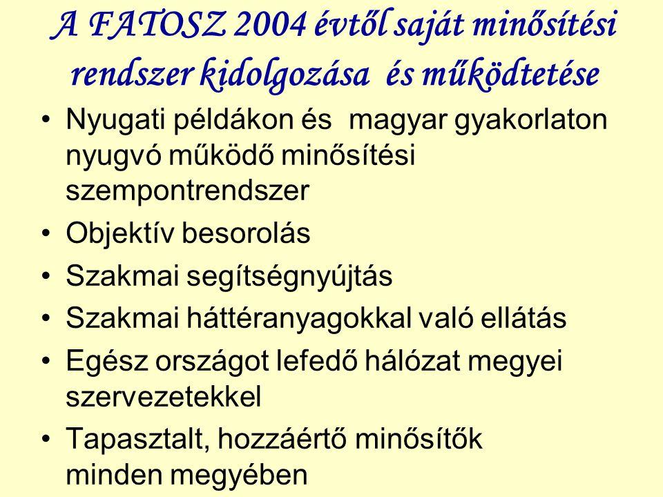 A FATOSZ 2004 évtől saját minősítési rendszer kidolgozása és működtetése Nyugati példákon és magyar gyakorlaton nyugvó működő minősítési szempontrends